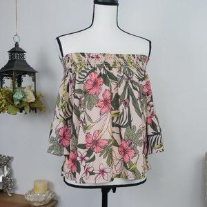Boohoo Floral Blouse Tropical Off Shoulder Top